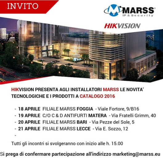 0cb81512f8a9 Hikvision presenta agli installatori Marss le novità 2016