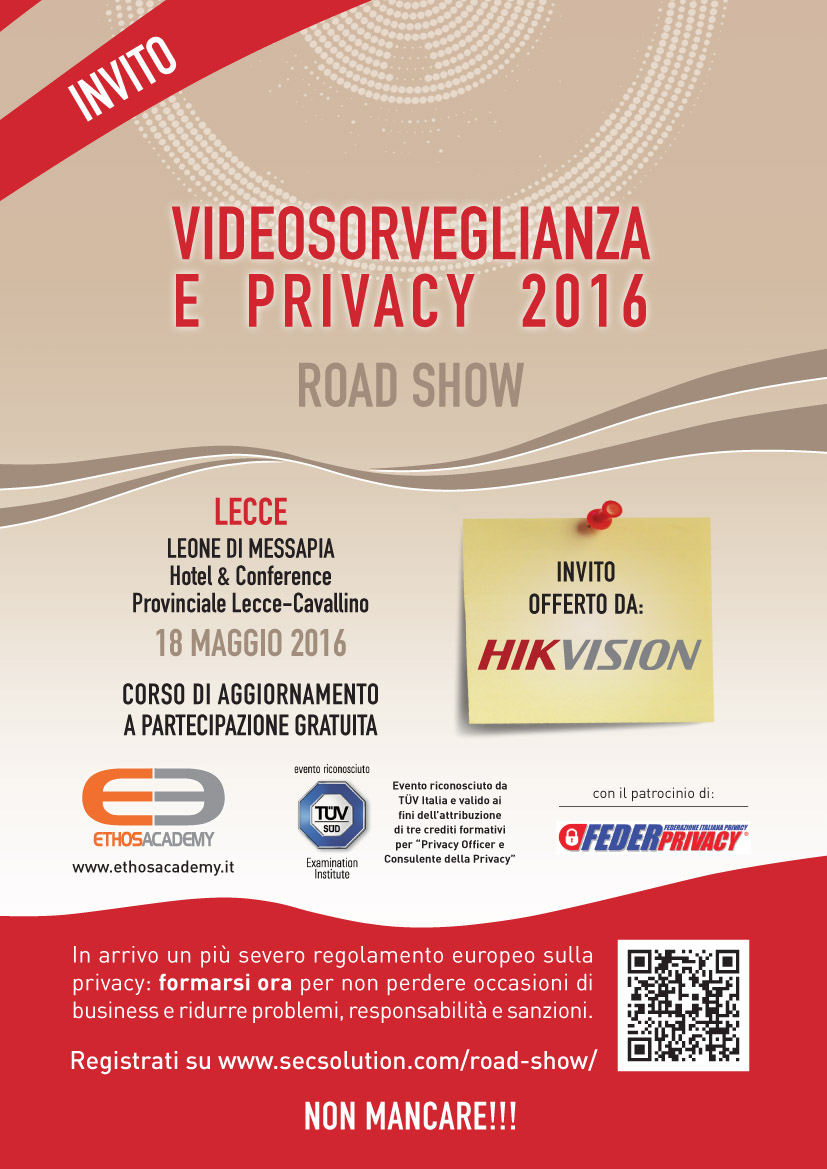Roadshow videosorveglianza privacy 2016 for Normativa videosorveglianza 2016